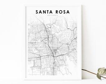 California CA USA Map Poster Santa Rosa Wall Art Santa Rosa City Map Santa Rosa Map Print City Street Road Map