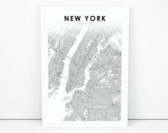 New York Map Etsy