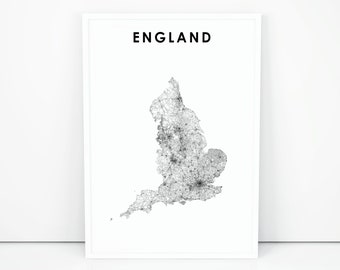 Printable Map Of England.England Map Etsy