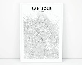 San jose map etsy san jose map print california ca usa map art poster city street road map print nursery room wall office decor printable map malvernweather Choice Image