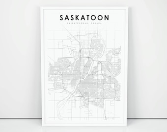 Saskatoon Map Print, Saskatchewan SK Canada Map Art Poster, City Street  Road Map Print, Nursery Room Wall Office Decor, Printable Map