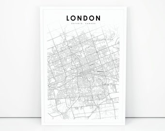 Downtown London Map Print England Uk United Kingdom Map Art Etsy