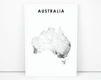 Australia Map Art.Australia Map Etsy