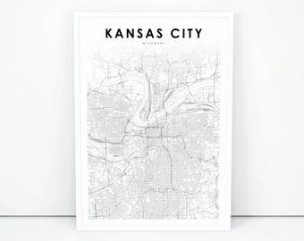 Kansas city map | Etsy