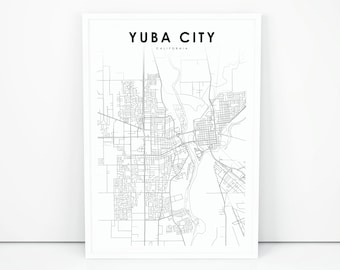 Map Of California Yuba City.Map Of Yuba City Etsy