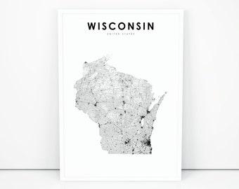 Wisconsin map   Etsy