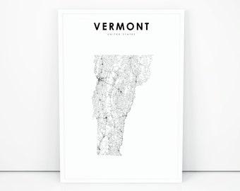 Vermont map | Etsy