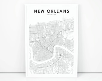 image regarding Printable Maps of New Orleans identified as Fresh new orleans la Etsy