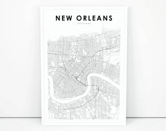 graphic regarding Printable Maps of New Orleans known as Contemporary orleans la Etsy