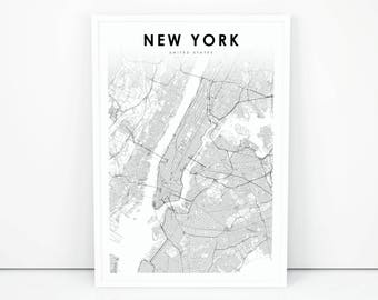 4fecf7d9ba0 New York Map Print