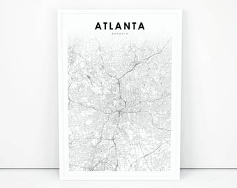 Atlanta On Map Of Usa.Atlanta Map Etsy