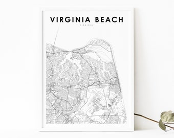 Virginia Beach Map Poster Black and White City Map City Map Poster Virginia Beach City Map Print Editable Virginia Beach City Map Poster