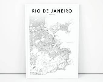 Rio de janeiro map | Etsy