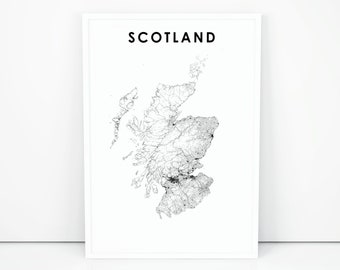 graphic relating to Printable Map of Scotland named Scotland map Etsy