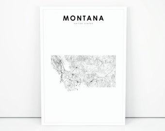 picture regarding Printable Map of Montana named Montana map Etsy