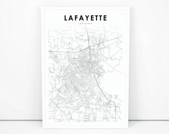 Lafayette map etsy lafayette map print louisiana la usa map art poster city street road map print nursery room wall office decor printable map publicscrutiny Images