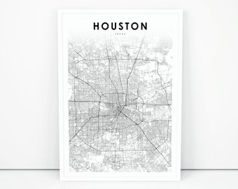 picture regarding Printable Gold Card Application Harris County called Houston map Etsy