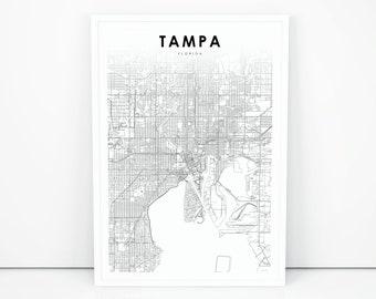 Tampa Florida Usa Map.Tampa Map Etsy