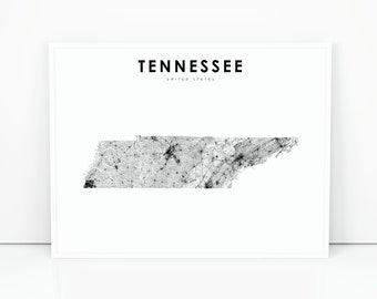 graphic about Printable Map of Tennessee named Tennessee map Etsy