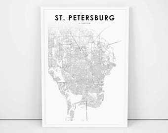 St Petersburg Fl Map Etsy
