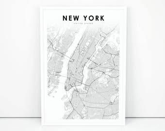 New York Map Print City NYC NY USA Art Poster Street Road Nursery Room Wall Office Decor Printable