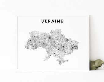 Map Flag Travel print Wales to Ukraine