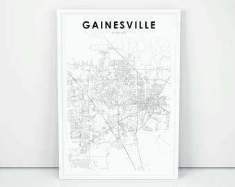 Gainesville Fl Map Etsy