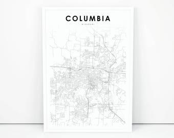 Columbia Mo Map Etsy - Columbia mo map