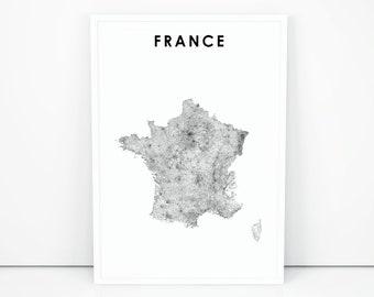 5dda7721 France Map Print, Road Map Art Poster, République française French Paris  Europe Map Art, Nursery Room Wall Office Decor, Printable Map