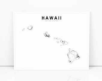 photo about Printable Map of Hawaii known as Hawaii map Etsy