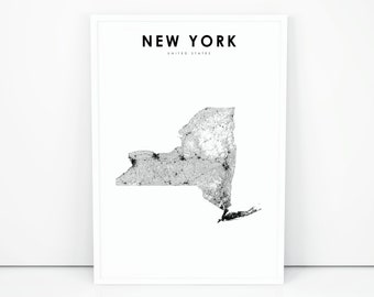 Map Of New York Poster.New York Map Etsy