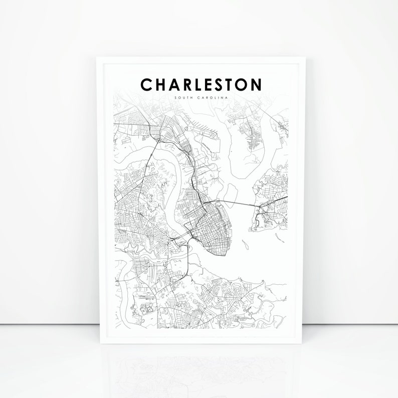 image relating to Printable Map of South Carolina identify Charleston Map Print, South Carolina SC United states of america Map Artwork Poster, Town Road Street Map Print, Nursery Space Wall Office environment Decor, Printable Map