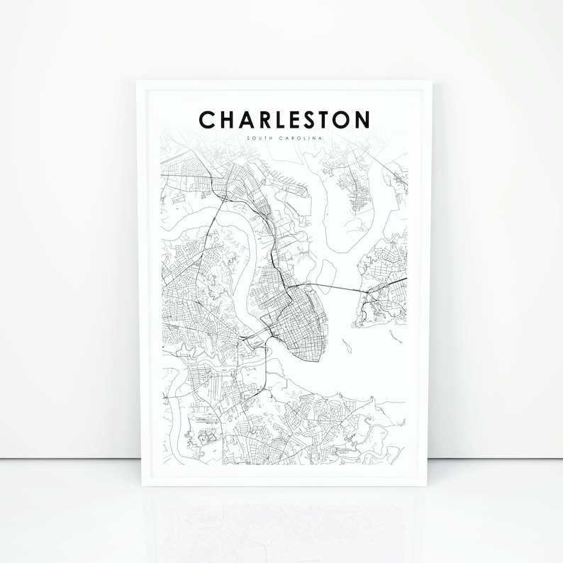 photograph regarding Printable Map of South Carolina identify Charleston Map Print, South Carolina SC United states of america Map Artwork Poster, Metropolis Road Street Map Print, Nursery Space Wall Workplace Decor, Printable Map