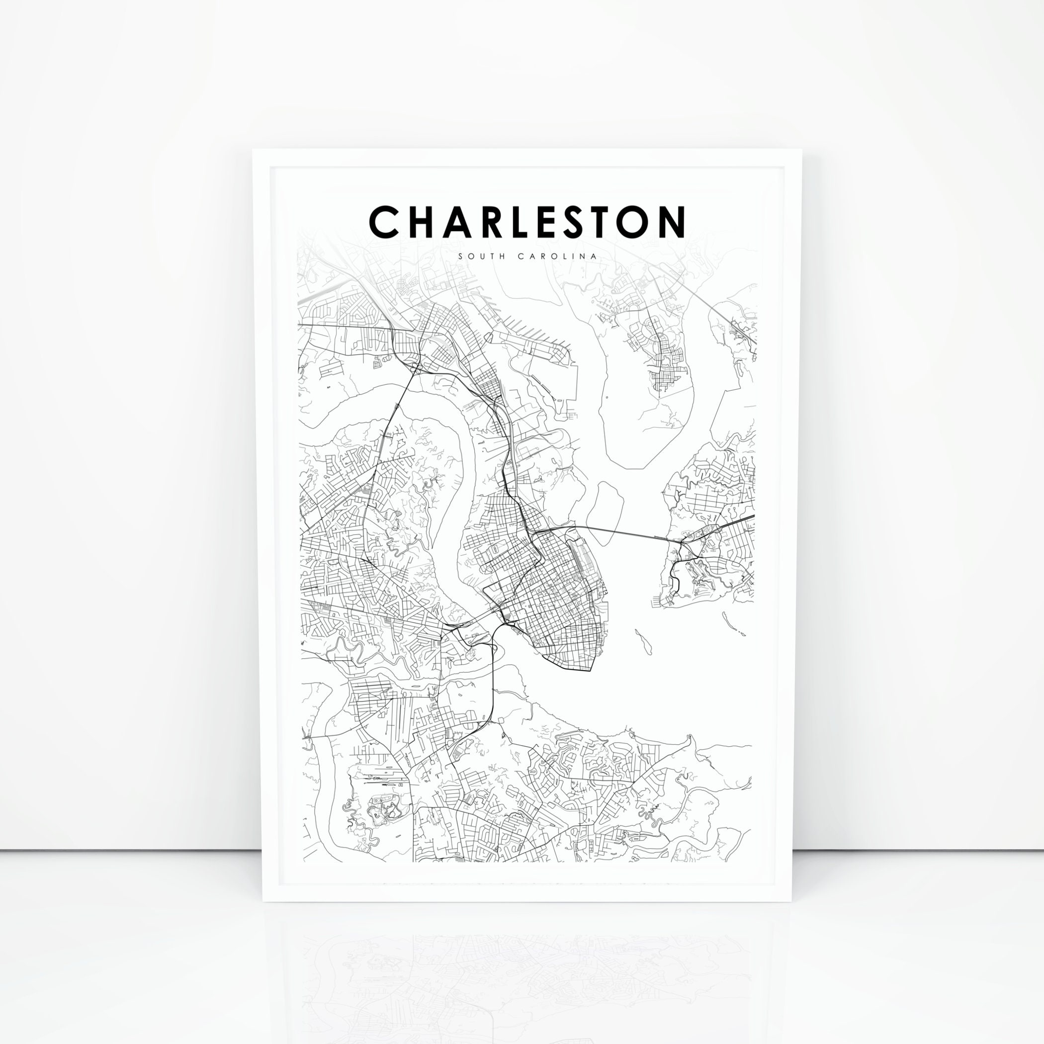 picture regarding Printable Maps of South Carolina named Charleston Map Print, South Carolina SC United states of america Map Artwork Poster, Town Highway Highway Map Print, Nursery Place Wall Office environment Decor, Printable Map