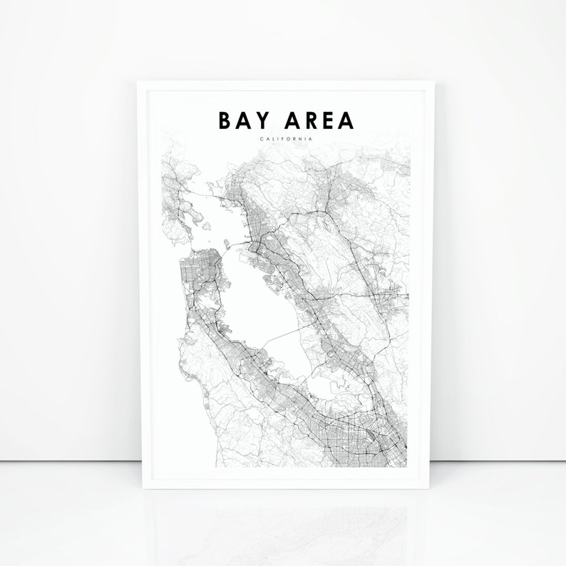 Bay Area Map Print California CA USA Map Art Poster South | Etsy Ca Usa Map on