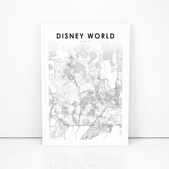 Disney World Map Print, Florida FL USA Map Art Poster, Kissimmee City  Street Road Map Print, Nursery Room Wall Office Decor, Printable Map