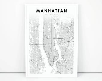 manhattan map print new york city nyc ny usa map art poster city street road map print nursery room wall office decor printable map