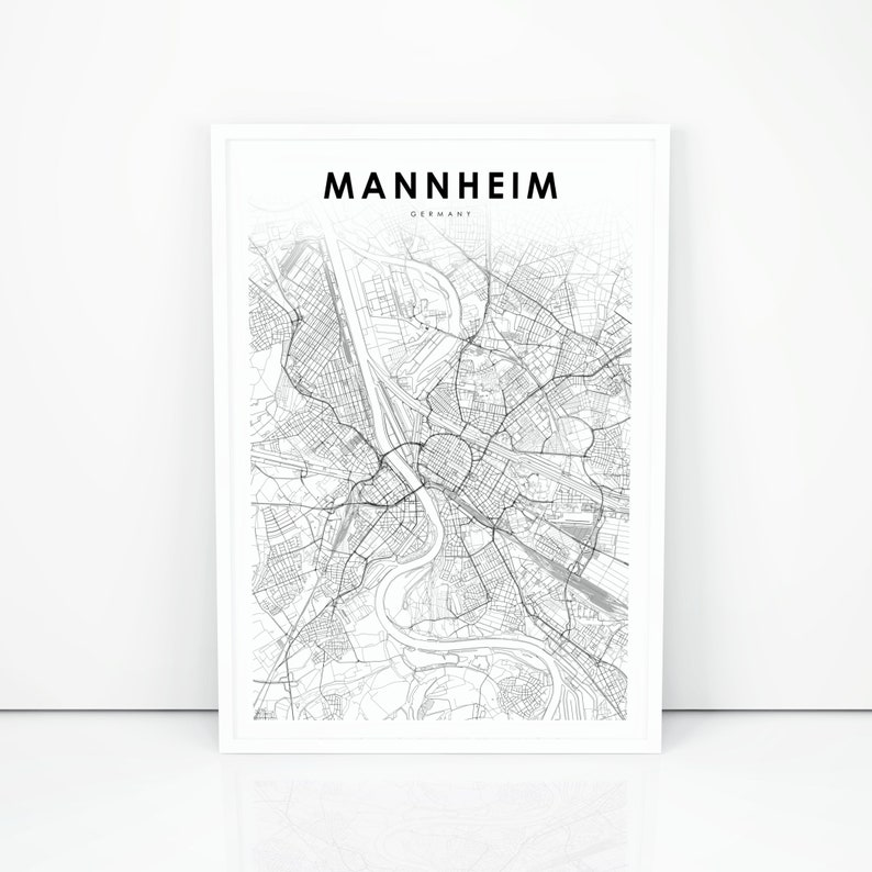 Map Of Germany Mannheim.Mannheim Map Print Germany Map Art Poster Baden Wurttemberg Etsy