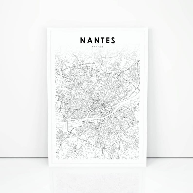 Map Of France Nantes.Nantes Map Print France Map Art Poster City Street Road Map Etsy
