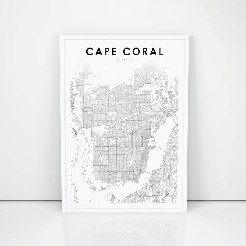 Florida On Usa Map.Cape Coral Map Print Florida Fl Usa Map Art Poster City Street Road Map Print Nursery Room Wall Office Decor Printable Map