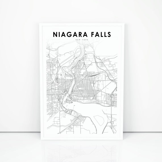 Niagara Falls Ny Map Print New York Ny Usa Map Art Poster Etsy