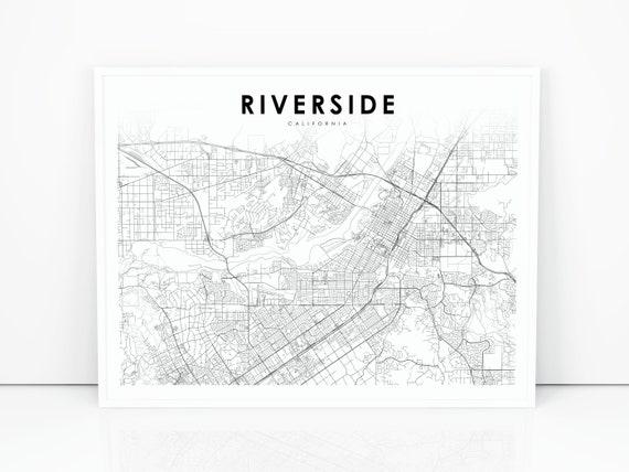 Riverside CA Map Print, California USA Map Art Poster, City Street Road Map  Print, Nursery Room Wall Office Decor, Printable Map