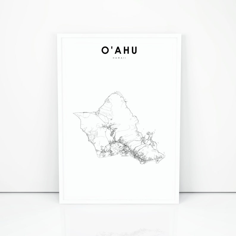 image relating to Oahu Map Printable named Oahu Map Print, Oahu Hawaii Hi there United states of america Map Artwork Poster, Honolulu Metropolis Highway Highway Map Print, Nursery Place Wall Office environment Decor, Printable Map