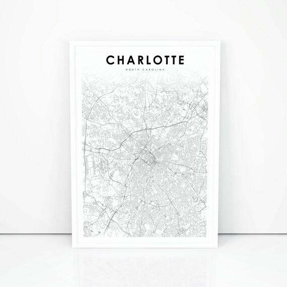 Charlotte In Usa Map.Charlotte Map Print North Carolina Nc Usa Map Art Poster Etsy