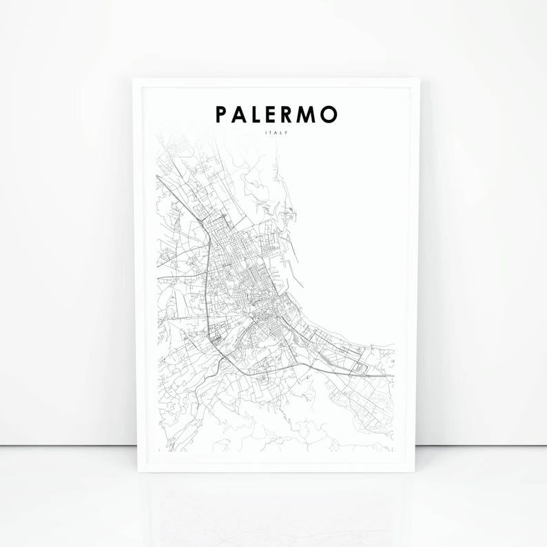 Palermo Map Print Italy Italia Map Art Poster City Street Etsy