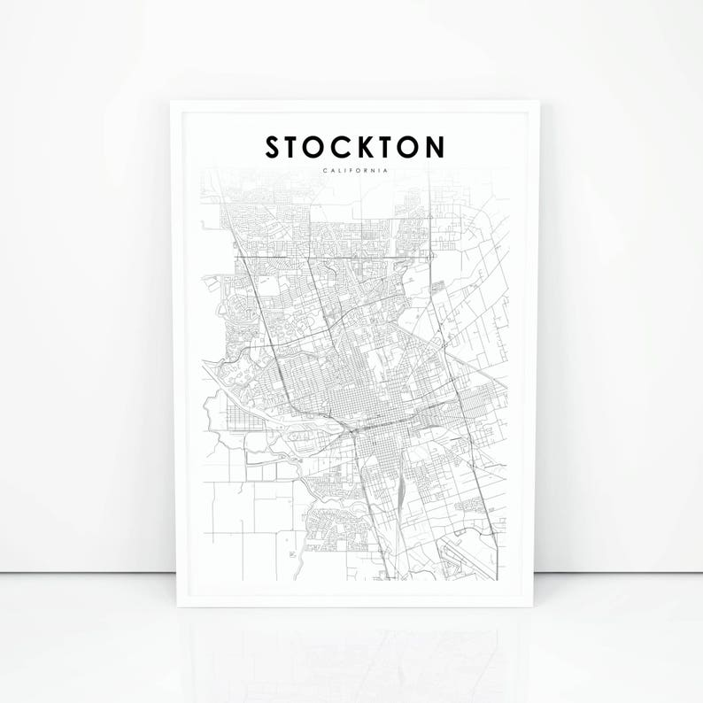 Stockton Map Print, California CA USA Map Art Poster, City Street Road Map  Print, Nursery Room Wall Office Decor, Printable Map