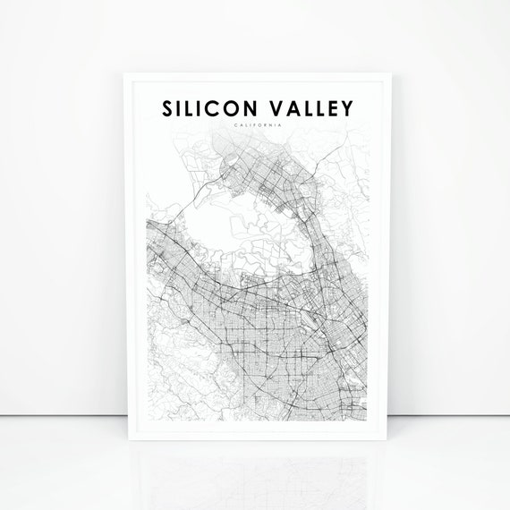 SILICON VALLEY MAP Poster Wall Art Home Photo Print 24x36 inches 1