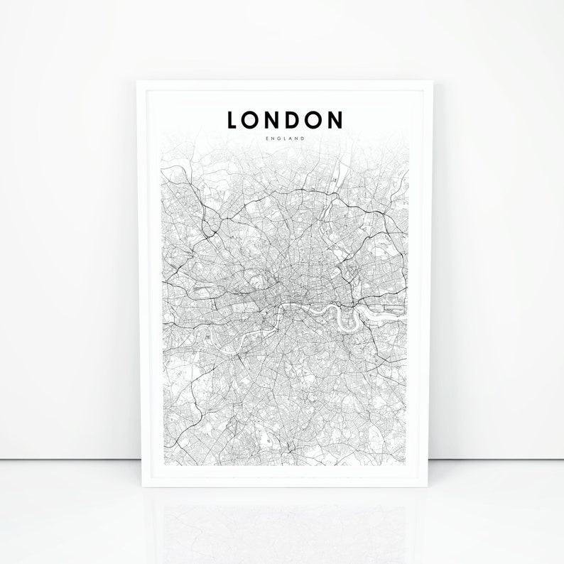 London Map Print England UK United Kingdom Map Art Poster   Etsy