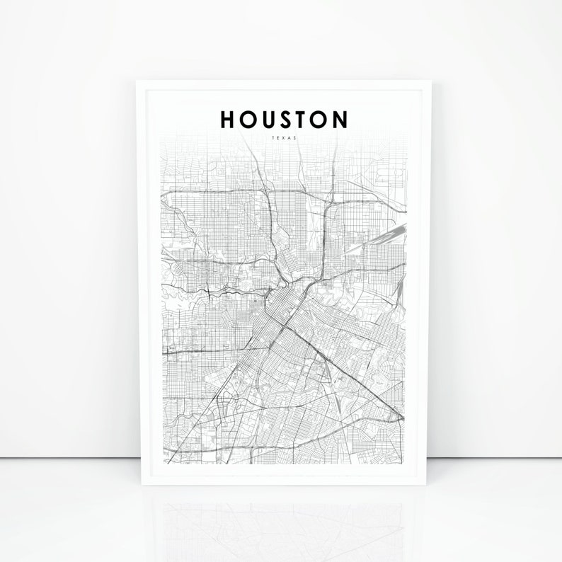 graphic relating to Printable Maps of Texas identify Downtown Houston Map Print, Texas TX United states Map Artwork Poster, Metropolis Highway Highway Map Print, Nursery Space Wall Place of work Decor, Printable Map