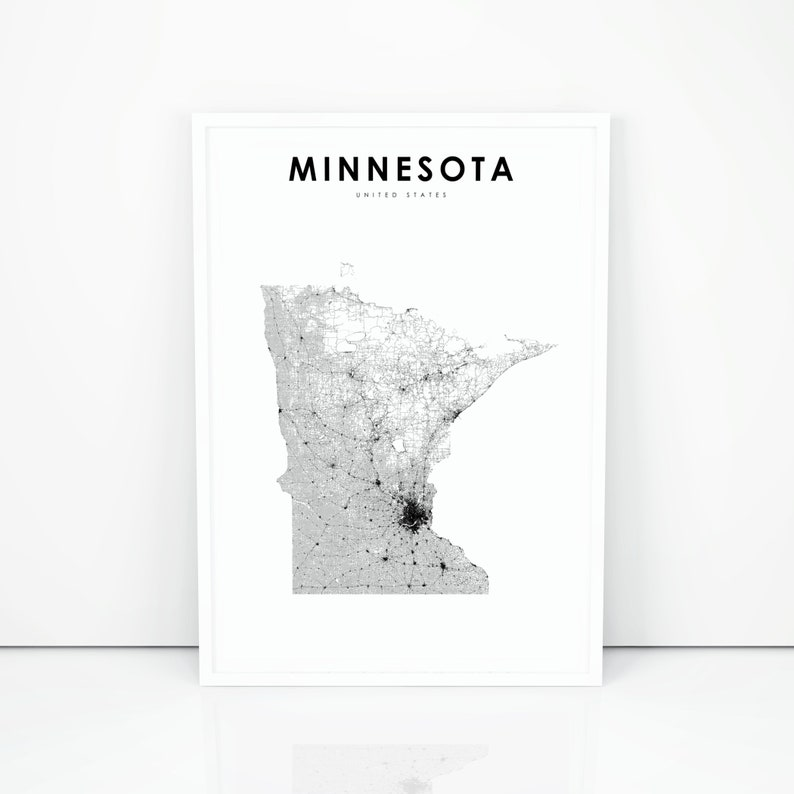 Minnesota Map Print State Road Map Print MN USA United | Etsy